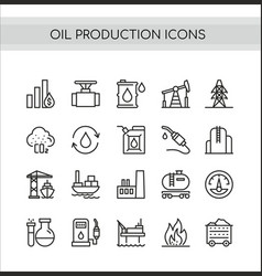 oil production set flat thin vector image