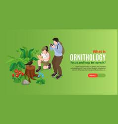 Ornithology isometric landing page vector