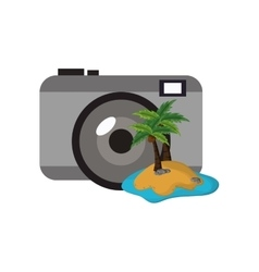 Photographic camera and tropical island icon vector