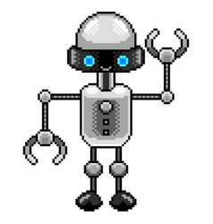 pixel small robot detailed isolated vector image