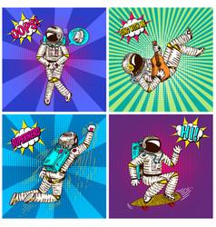 pop art astronaut soaring or flying on rocket vector image