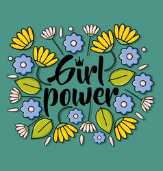 Power girl card with floral decoration vector
