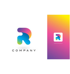r logo letter with rainbow vibrant beautiful vector image