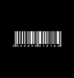 realistic white barcode icon on black background vector image