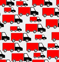 Red Trucks Seamless Pattern Bakground with Cars in vector image
