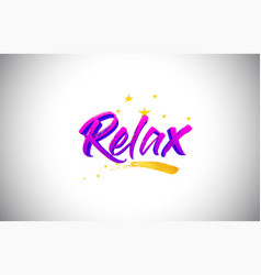 relax purple violet word text with handwritten vector image
