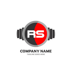 Rs letter logo design icon fitness and music vector