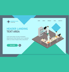 science lab interior landing web page template vector image