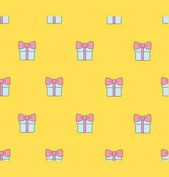 Seamless pattern with gift boxes on yellow vector