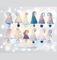 set blue doodle christmas trees on white vector image