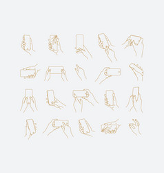 set hand phone positions vector image