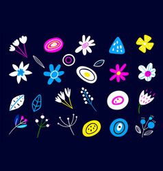 set multicolored flowers in a flat style vector image