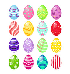 set of color easter eggs with vector image