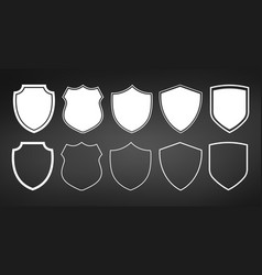 set of flat shields with contours isolated on vector image