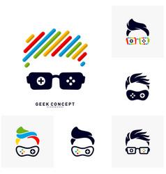 set of geek games leaf logo concept game geek vector image
