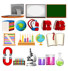 set of school learning element vector image