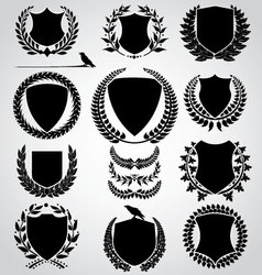 Set - shield and laurel wreath vector
