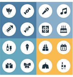 set simple birthday icons vector image
