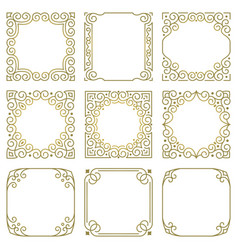 set square gold frames oriental ornaments vector image
