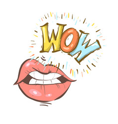 sexy open female mouth and wow speech bubble vector image