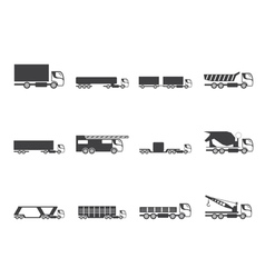 Silhouette different types of trucks and lorries vector image