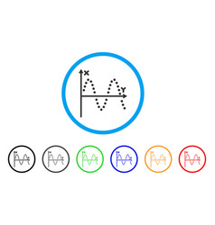 sine plot rounded icon vector image