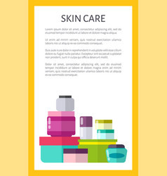 skin care means with minerals in jars promo poster vector image