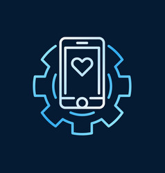 Smartphone in cog colored icon in thin line vector