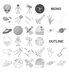 Space technology monochrom icons in set collection vector