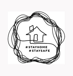 Stay at home a house drawn in closed linear vector