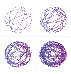 Tangled circle clew set colored intricate texture vector