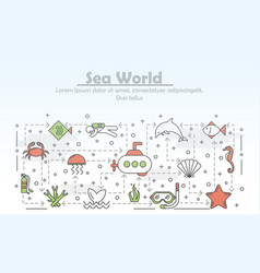 thin line art sea world poster banner vector image