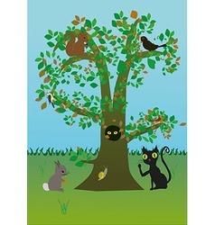 Tree with animals vector