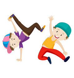 Two boys doing breakdance vector