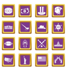 usa icons set purple vector image