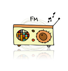 vintage radio sketch for your design vector image