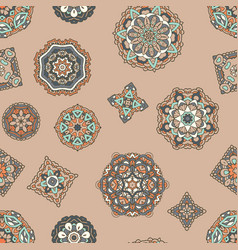 Vintage seamless pattern with mandala ornament vector