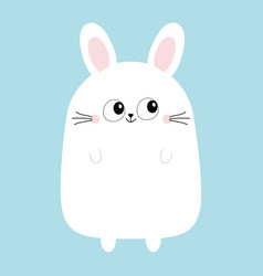 White bunny rabbit funny head face big eyes vector