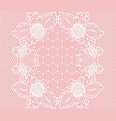 white lace floral grid pattern on a pink vector image