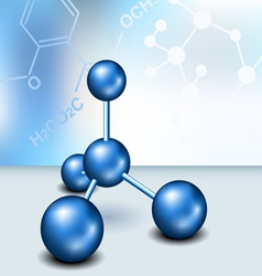 Chemistry text frame with blue molecule vector image vector image