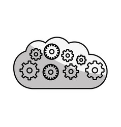 figure cloud with gears inside icon vector image vector image
