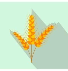 Three stalks of ripe barley flat icon vector