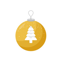 yellow christmas bulb with a picture of snow vector image vector image