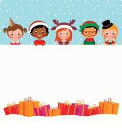 Group of children in costumes and Christmas gifts vector image vector image