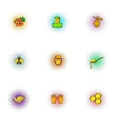 Honey production icons set pop-art style vector