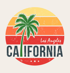 california tee print with styled palm tree vector image
