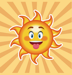 character sun tongue out with striped background vector image