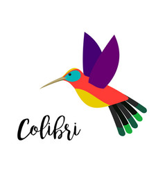colibri bird element with inscription vector image vector image