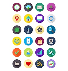 Color round Internet icons set vector image vector image