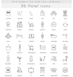 Hotel ultra modern outline line icons for vector image